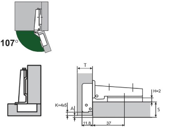 Петля мебельная АGV 107* clip-on HS-3D с доводчиком.