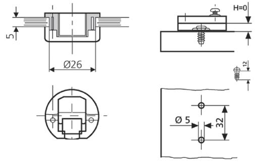 Петля мебельная для стекла вкладная AGV 15 Mini slide-on.  В комплекте ответная планка h=0мм с еврошурупами.