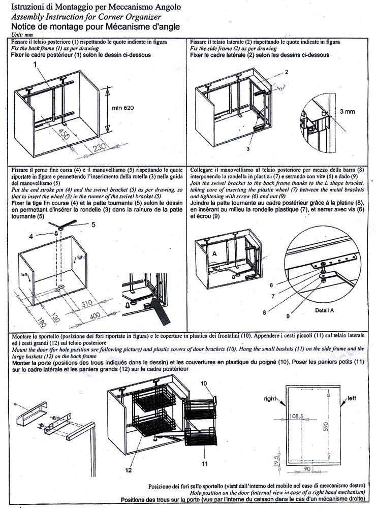 "ШxГxВ - 860x450x630-690 мм.  Цвет - хром.  Механизм для углового кухонного модуля -  ""волшебный уголок ""."